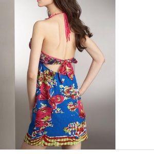 Nanette Lepore Ruffle Halter Blue Butterfly Dress